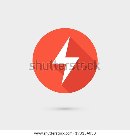 Lightning icon red circle on gray background - stock vector