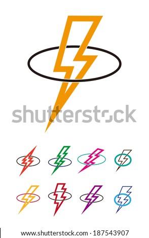 Lightning icon set. Design vector flash logo template.  - stock vector