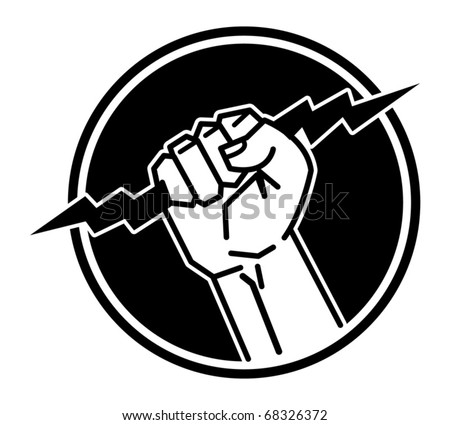 Lightning in the hand, abstract vector icon - stock vector