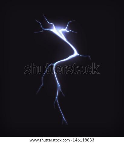 Lightning on black, vector - stock vector