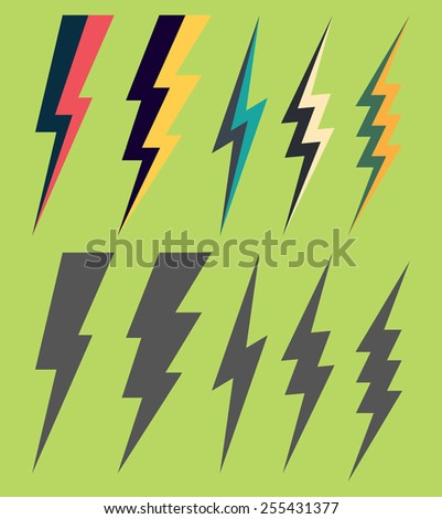 Lightning silhouettes. Vector set of gray and double colors lightnings isolated on a green background. Design elements for comics, flat graphics and icons. - stock vector