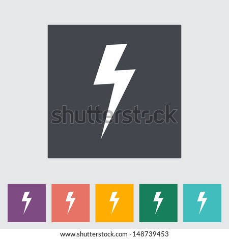 Lightning single flat icon. Vector illustration. - stock vector
