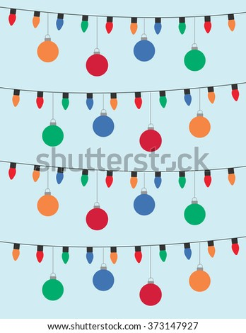 Lights and christmas bulbs over solid blue background - stock vector