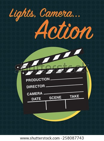 Lights, camera, action movie poster for film festival  - stock vector