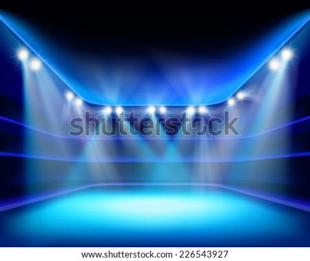 Lights of stadium. Vector illustration. - stock vector