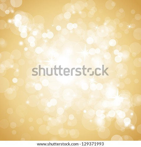 Lights On Beige Background - Vector Illustration, Graphic Design Useful For Your Design. Bright Beige Abstract Christmas Background With White Snowflakes - stock vector