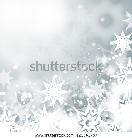 Lights On Bright Background - Vector illustration. Light blue abstract Christmas background with white snowflakes - stock vector