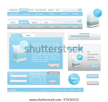 Ligth Blue Web design elements collection - web templates, frames, bars,  icons, bannes, login forms, buttons. - stock vector