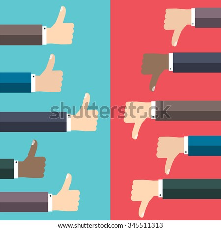 Like and dislike concept. Thumbs up and thumbs down hand sign. Communication and network, web and internet. Flat vector illustration. - stock vector