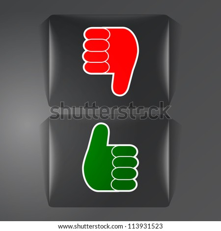 Like and dislike glass labels - stock vector