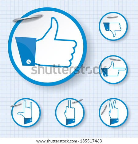 Like and other finger other finger gestures. Vector. - stock vector