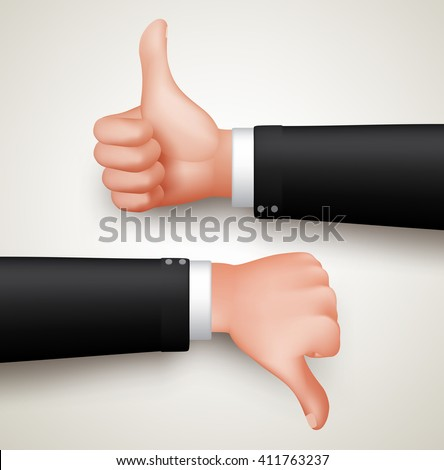 Like and Unlike Hand Gesture or Thumbs Up and Thumbs Down Hands of Professional Man in 3D Realistic Vector Illustration  - stock vector