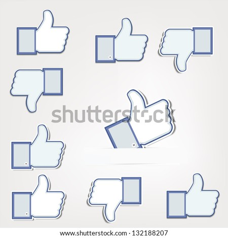 Like and Unlike symbols isolated on white Background - stock vector