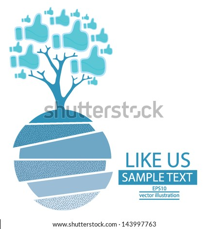Like button. Tree design. blue gift box. vector illustration. - stock vector