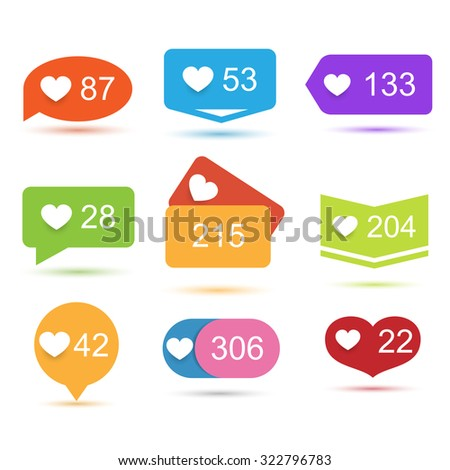 Like counter notification icons set - stock vector