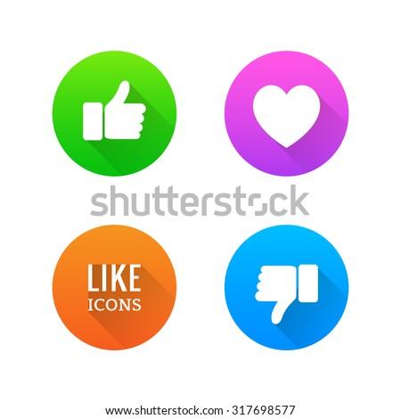 Like, dislike, heart icons with long shadow. Vector illustration. - stock vector