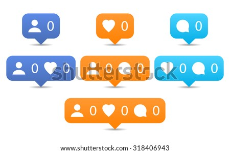 Like, follow, comment icons in flat style. Orange and blue notification tooltip with heart, user, speech bubble, counter, shadow on white background. Set 01. Vector illustration design element 8 eps - stock vector
