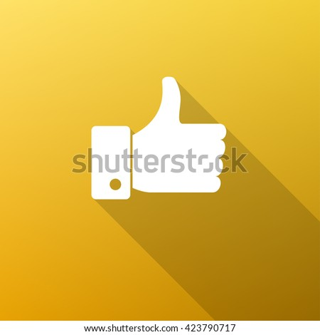 Like Icon Fill White on Gradient Background with Long Shadow - stock vector
