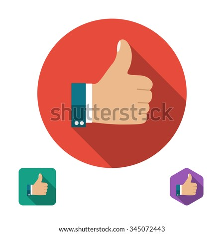Like icon. Thumb up symbol. Set icons in flat style with long shadows. Three types of icons: circle, square, hexagon. Vector illustration - stock vector