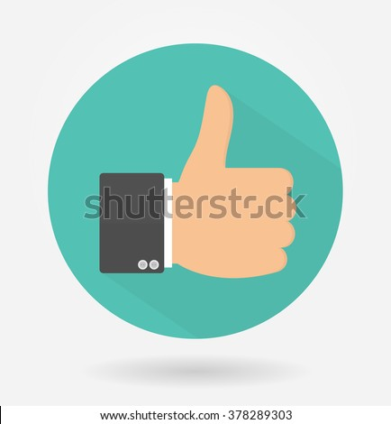 Like icon with long shadow. Flat design - stock vector