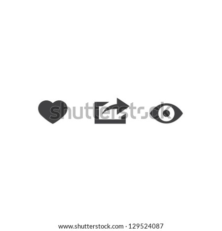 Like Share View Icon Vector Set - stock vector