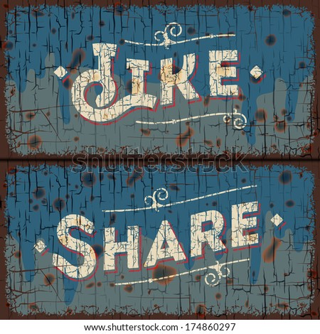 Like, share words - social media concept - text on vintage sign, vector image.  - stock vector