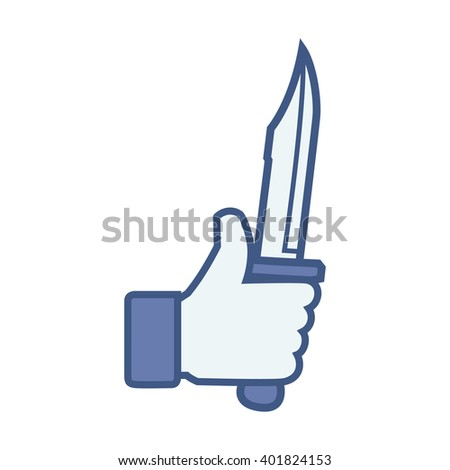 Like/Thumbs up/Hand hold knife.Like Icon. Like Icon Vector. Like Icon JPEG. Like Icon Object. Like Icon Picture. Like Icon Image. Like Icon Graphic. Like Icon Art. Like Icon JPG. Like Icon EPS - stock vector