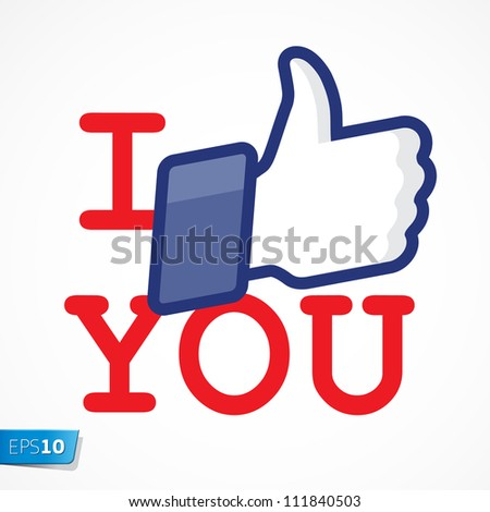 Like/Thumbs Up symbol icon - I like you, vector Eps10 illustration. - stock vector