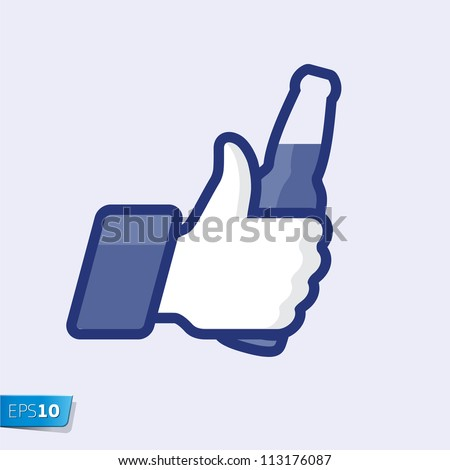 Like/Thumbs Up symbol icon with beer bottle, vector Eps 10 illustration. - stock vector
