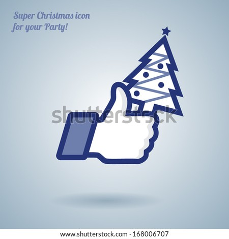 Like/Thumbs Up symbol icon with Christmas tree, vector Eps 10 illustration. Icon for Christmas Party and for New Year - stock vector