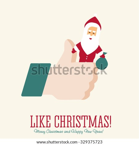Like/Thumbs Up symbol icon with Santa Claus, vector Eps 10 illustration. Icon for Christmas Party and for New Year - stock vector
