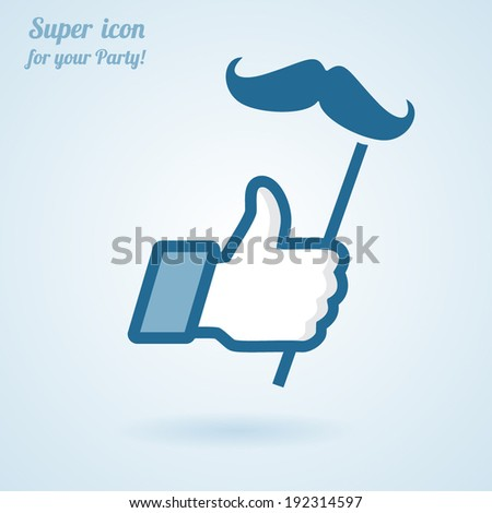 Like/Thumbs Up symbol icon with vintage moustage, vector Eps 10 illustration. Icon for Party - stock vector