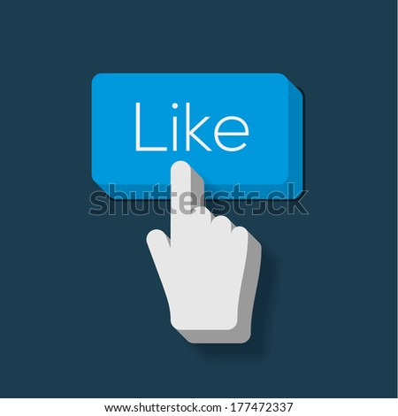 Like us Button with Hand Shaped Cursor, Flat design, vector image.  - stock vector