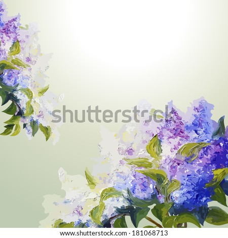Lilac flowers background. Spring flowers invitation template card - stock vector