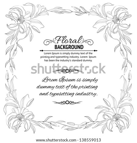 Lily frame for invitations. Vector illustration. - stock vector