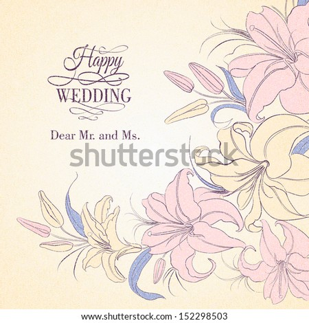 Lily frame isolated over sepia. Vector illustration. - stock vector