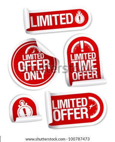 Limited offer sale stickers set. - stock vector