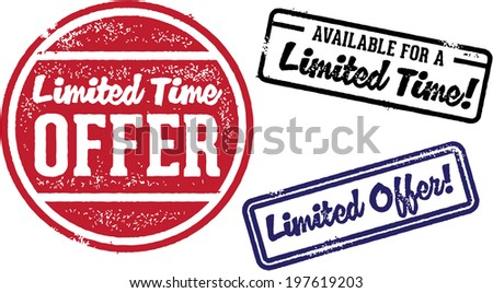 Limited Time Offer Vintage Retail Stamps - stock vector