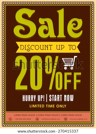 Limited Time Sale poster, banner or flyer design with discount offer. - stock vector