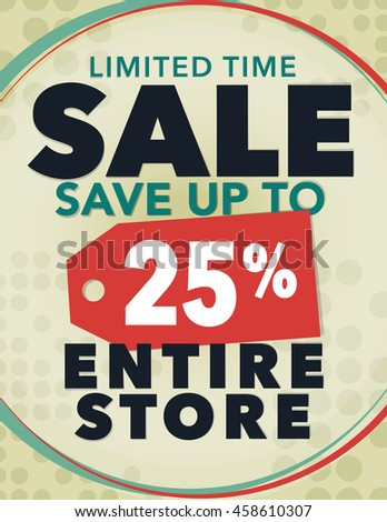 Limited time sale save up to 25% off poster - stock vector