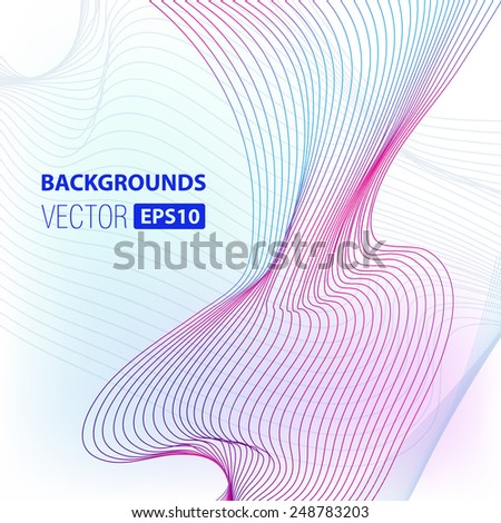 line abstract form on gradient background- vector stock - stock vector