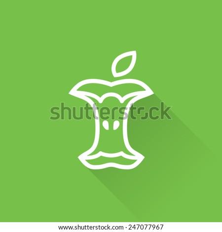 Line Apple Bitten Icon - stock vector