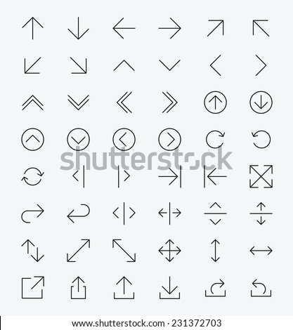 Line Arrow icon set   Vector - stock vector