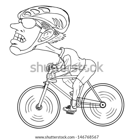 Line-art caricature of a bicycle athlete - stock vector
