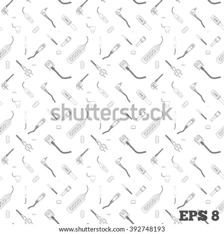Line art cords and plugs combined into pattern 3x3 - stock vector