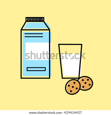 Line art flat illustration blue milk pack with white blank sticker and glass with white liquid and cookies isolated on yellow background/ vector eps 10 - stock vector