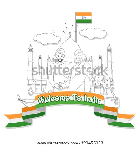 Line art graphic of travel to India symbol with famous landmark and cultural elements. - stock vector