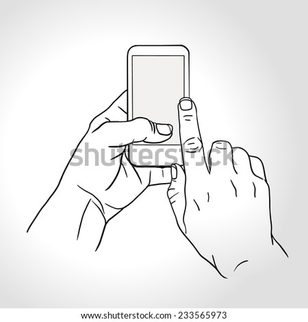 Line art hand holding and touch on smartphone with blank screen isolated on white background, mobile phone touch gestures -- touch the screen - stock vector