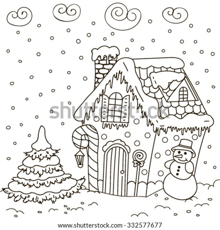 Line Art Illustration of a Gingerbread House (Coloring Page) - stock vector