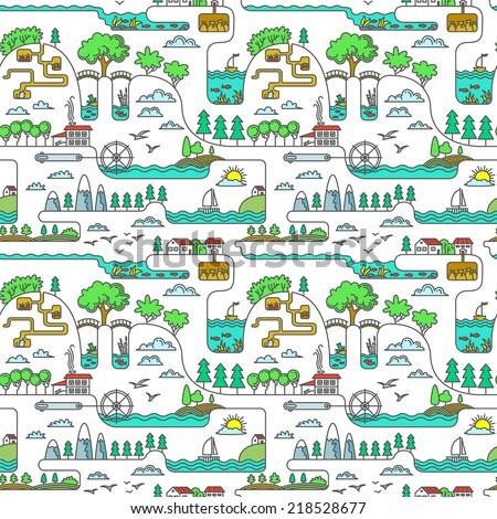 Line art rural landscape seamless pattern - stock vector